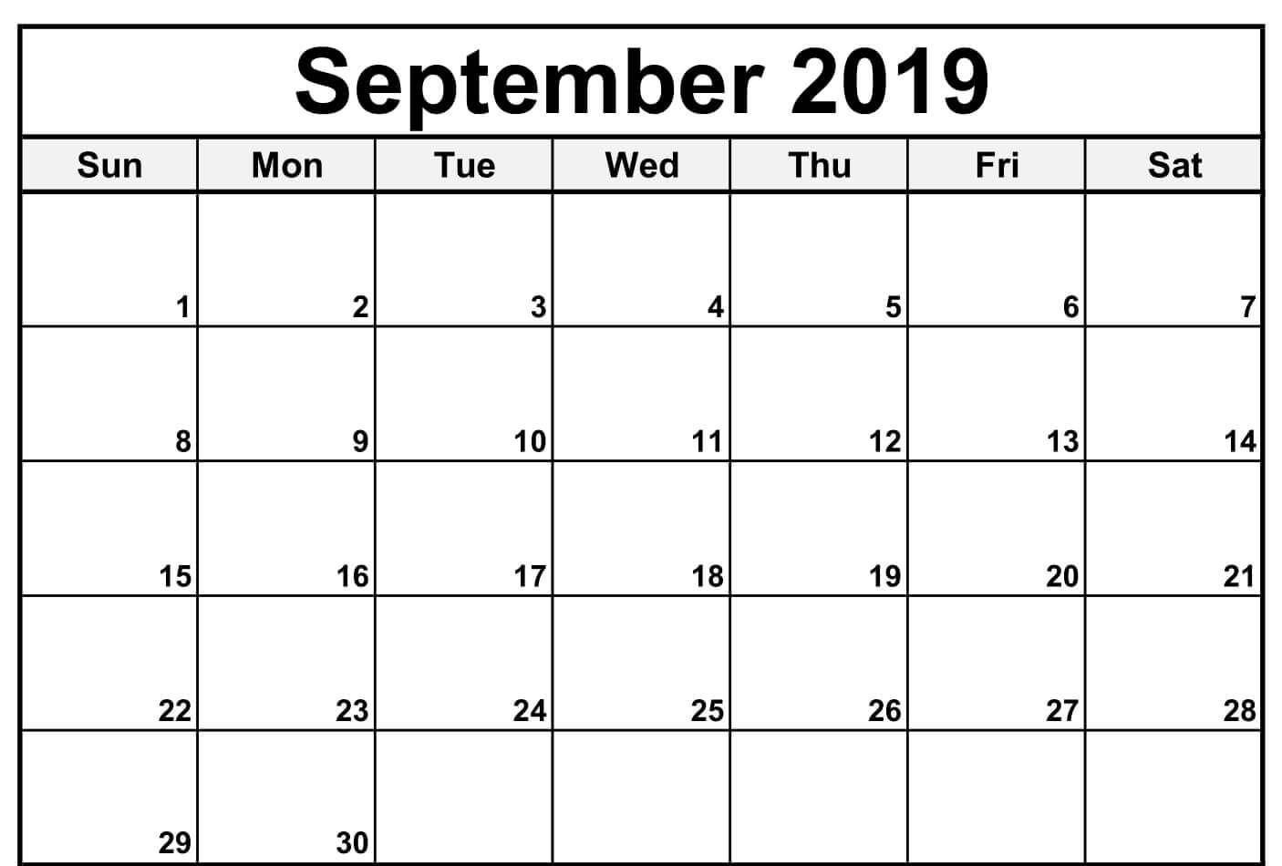 September 2019 Calendar Excel | September Calendar, Blank
