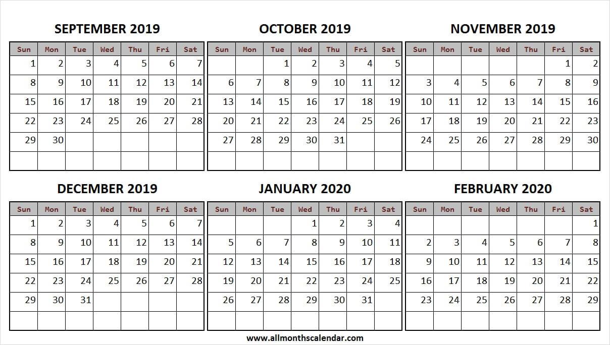 September 2019 February 2020 Half Year Calendar | A4 Calendar