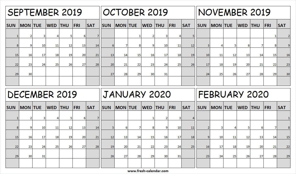 September 2019 To February 2020 Calendar Editable | Calendar