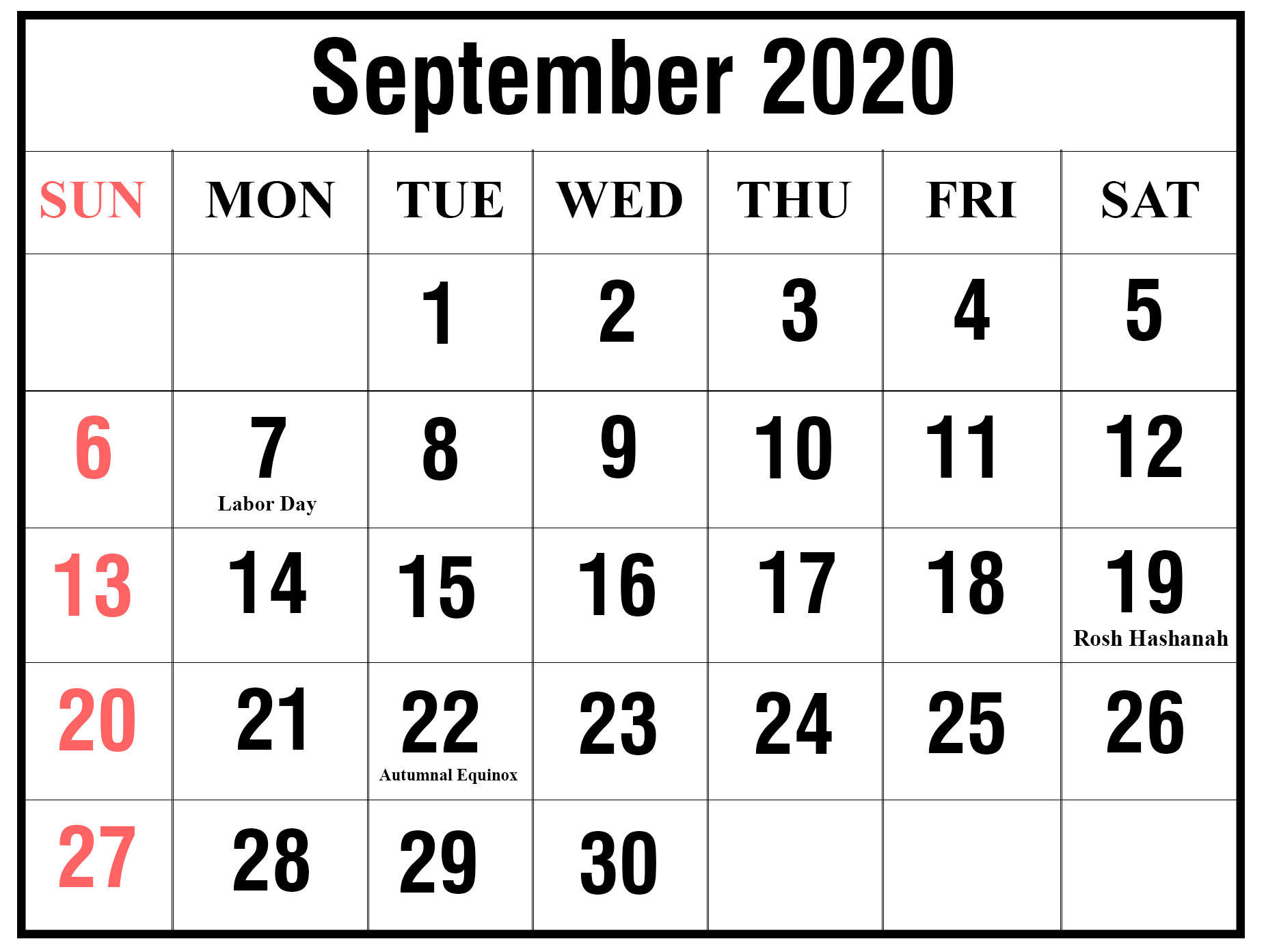 September 2020 Calendar Printable - Ko-Fi ❤️ Where