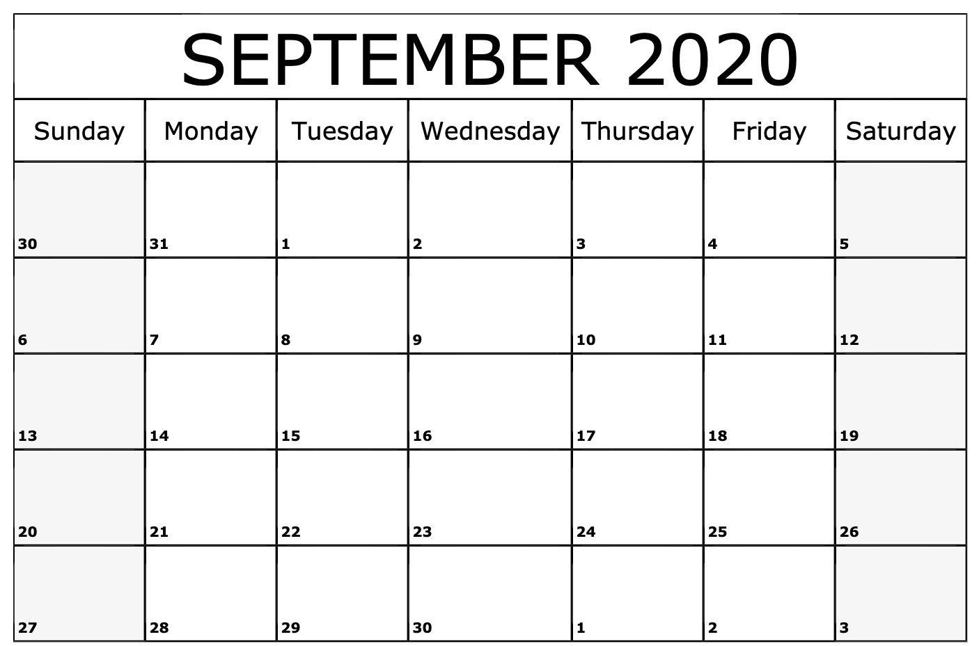 September 2020 Calendar Printable Template | Printable
