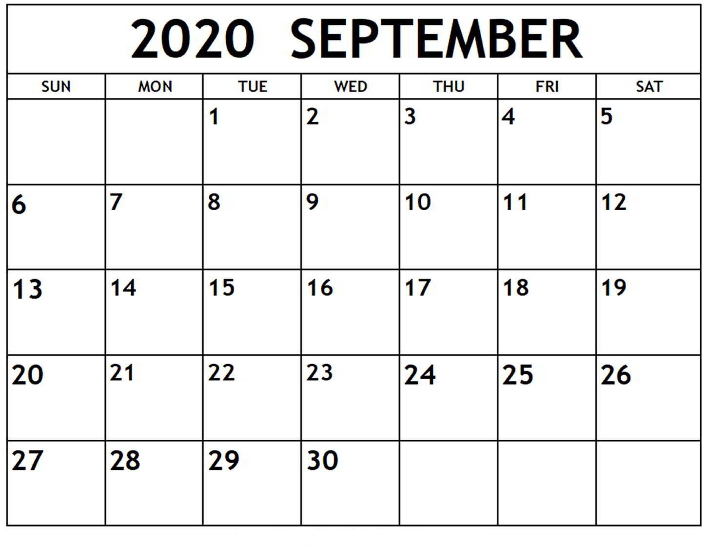 September 2020 Calendar Printable Templates With Notes | 12