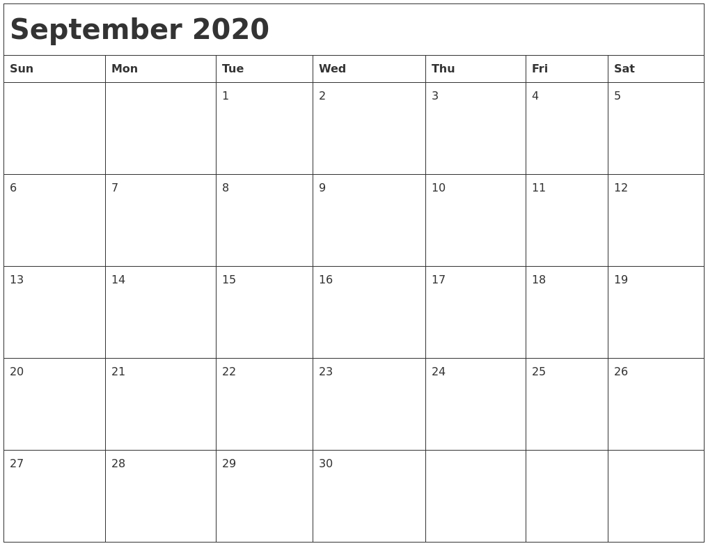 September 2020 Month Calendar