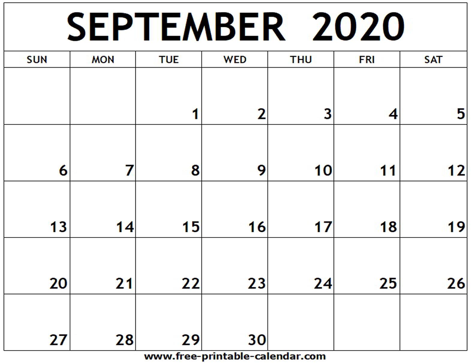 September 2020 Printable Calendar - Free-Printable-Calendar