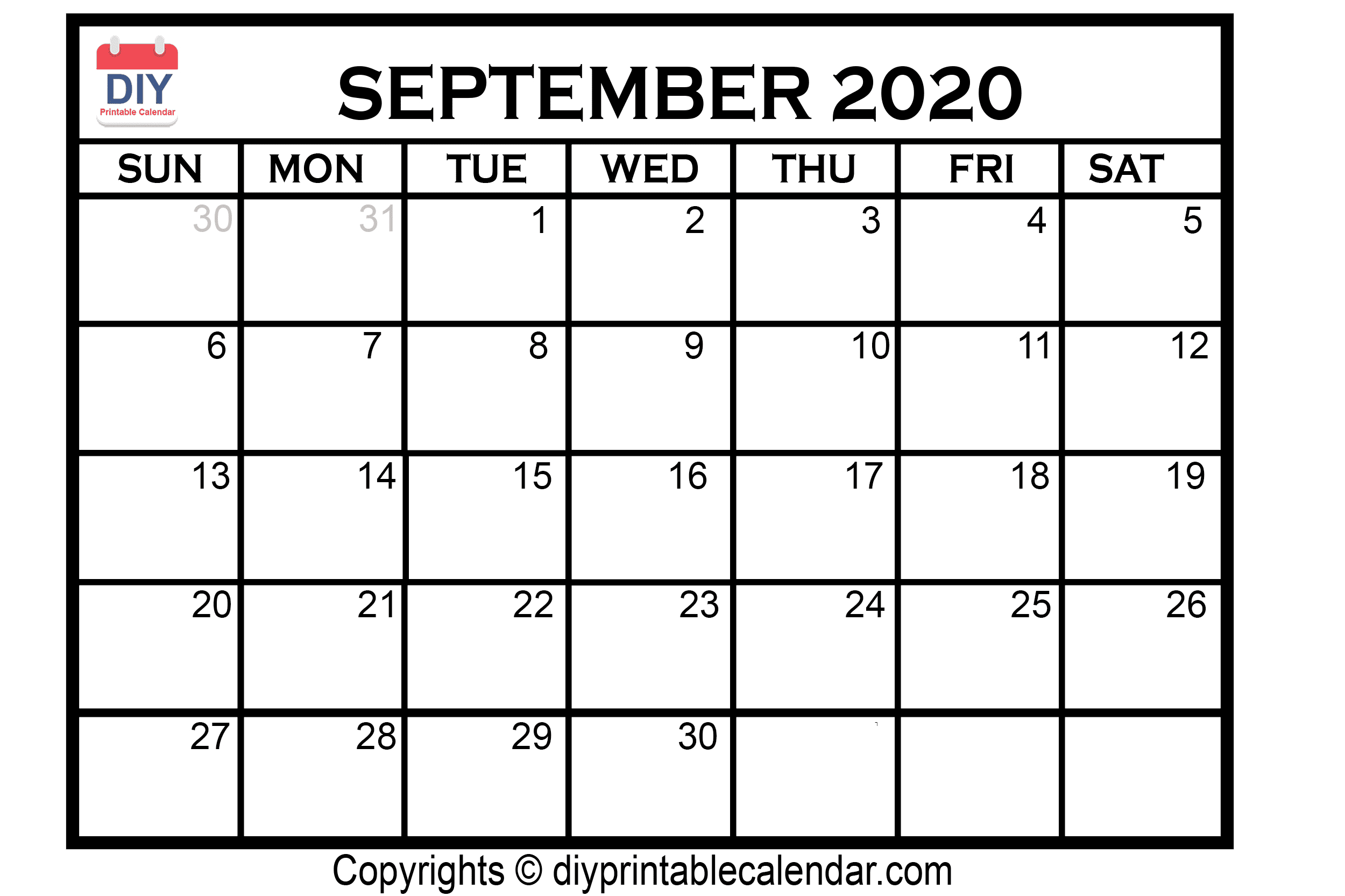 September 2020 Printable Calendar Template