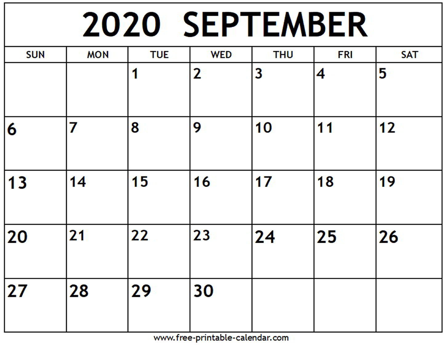 September Calendar 2020 Printable - Teke.wpart.co