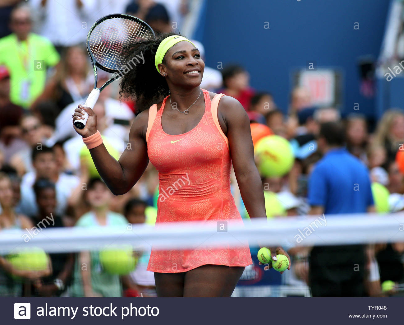 Serena Williams Of The Usa Gets Ready To Hit Balls Into The