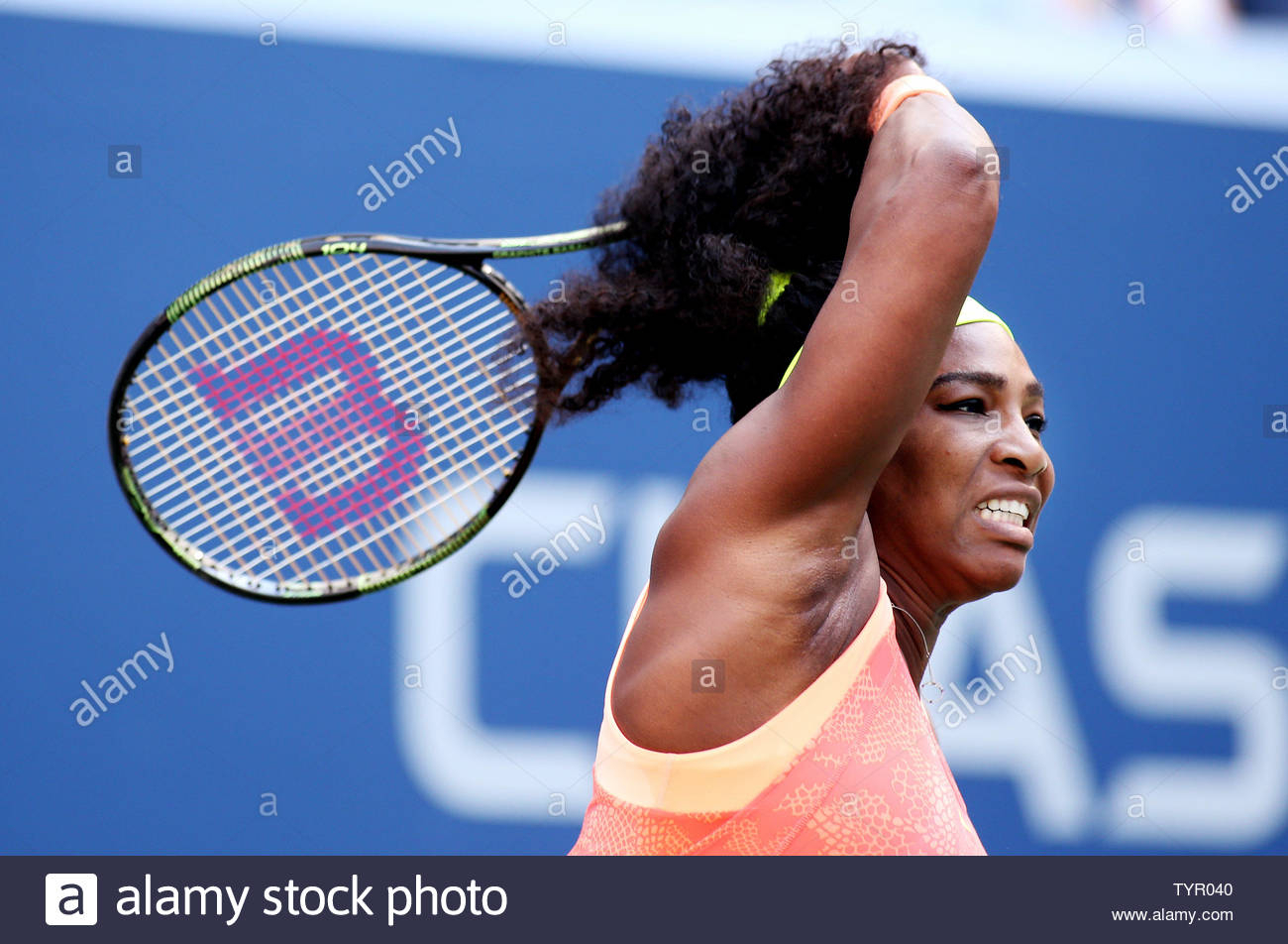 Serena Williams Of The Usa Returns The Ball To Madison Keys