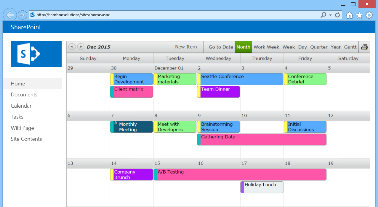 Sharepoint Calendar Web Part - Bamboo Solutions