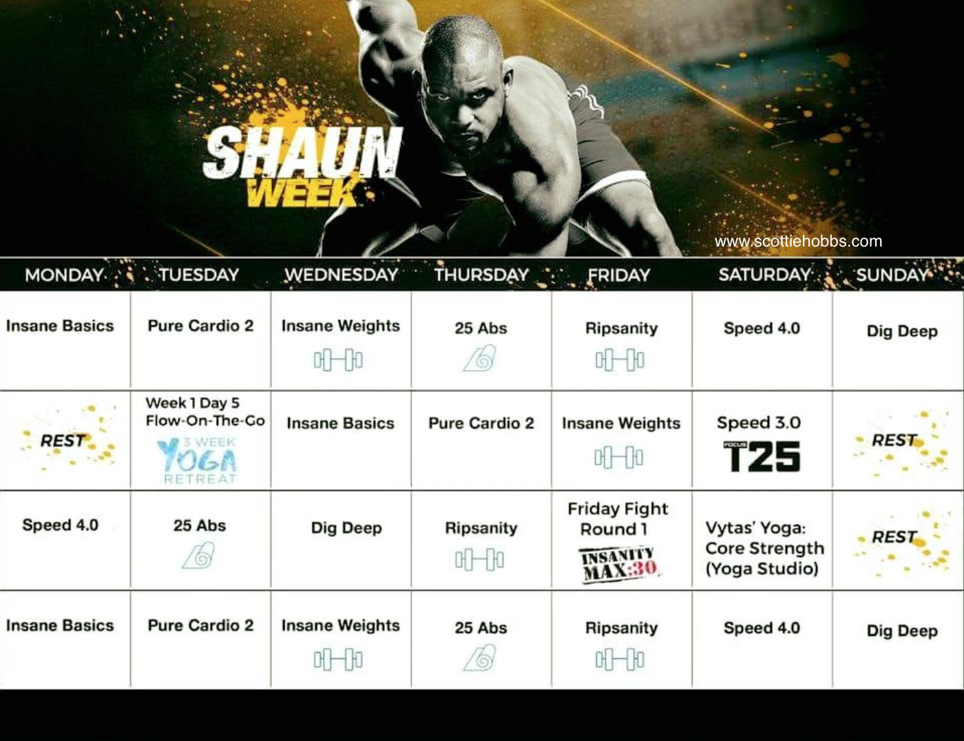 Shaun Week Hybrid Schedule | Shaun Week, Workout Calendar