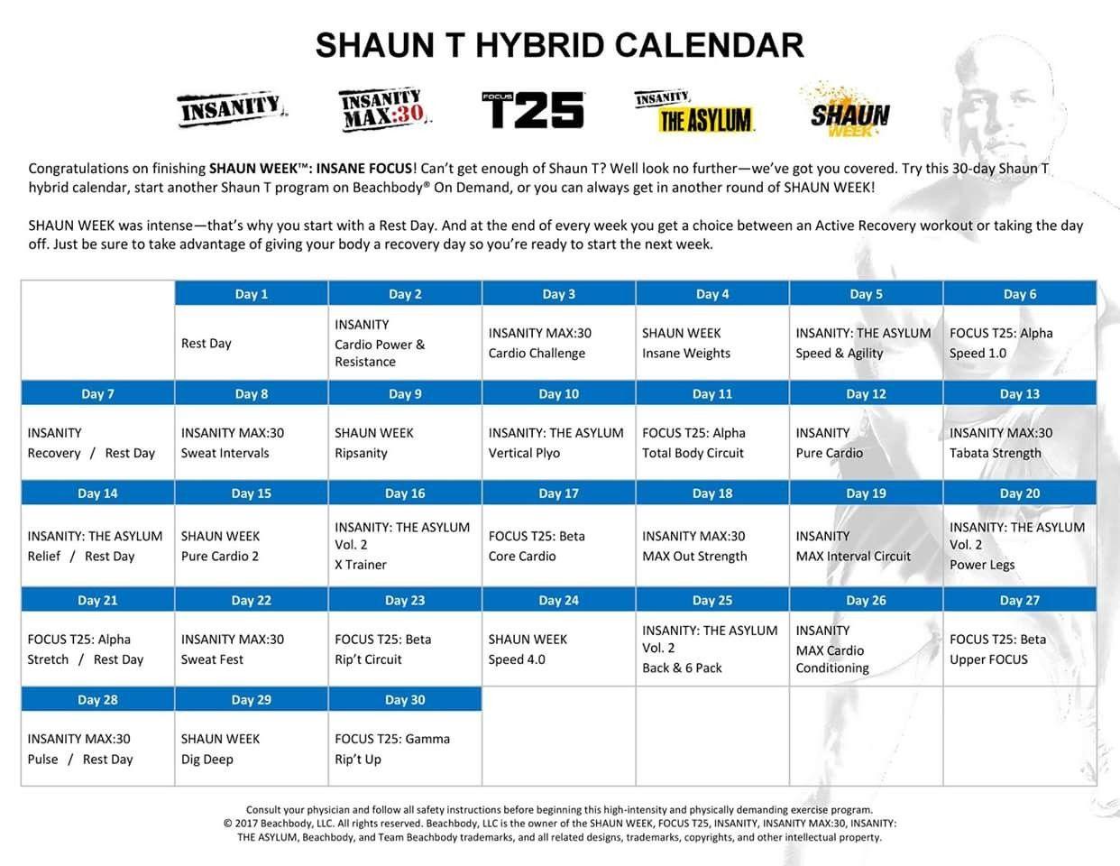 Shaun Week Monthly Calendar #2 Calendrier Hybride Mensuel