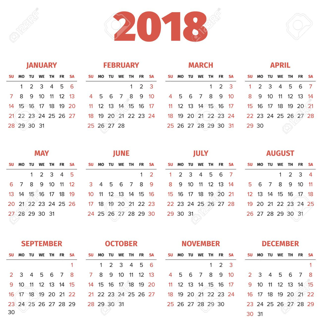 Simple 2018 Year Calendar, Week Starts On Sunday
