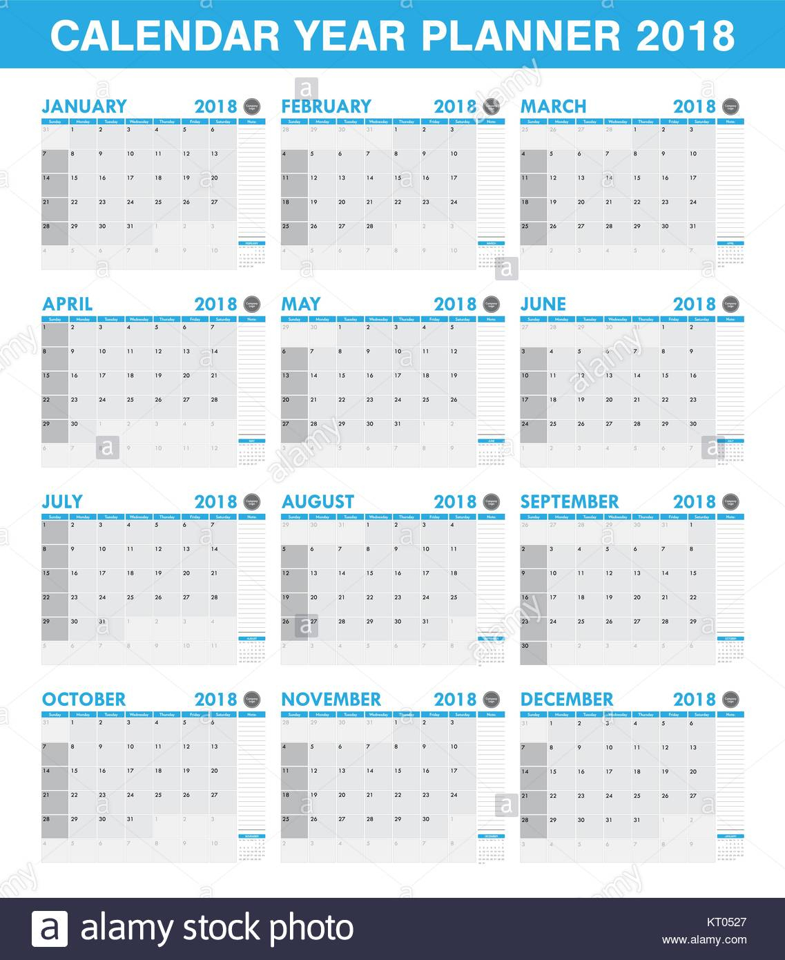 Simple 2018 Year Planner Calendar Set Of All Month Stock