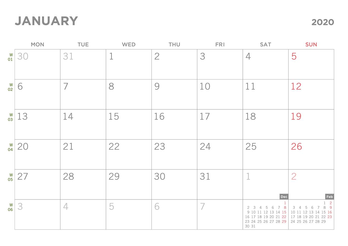 Simple 2020 Printable Pdf Calendar