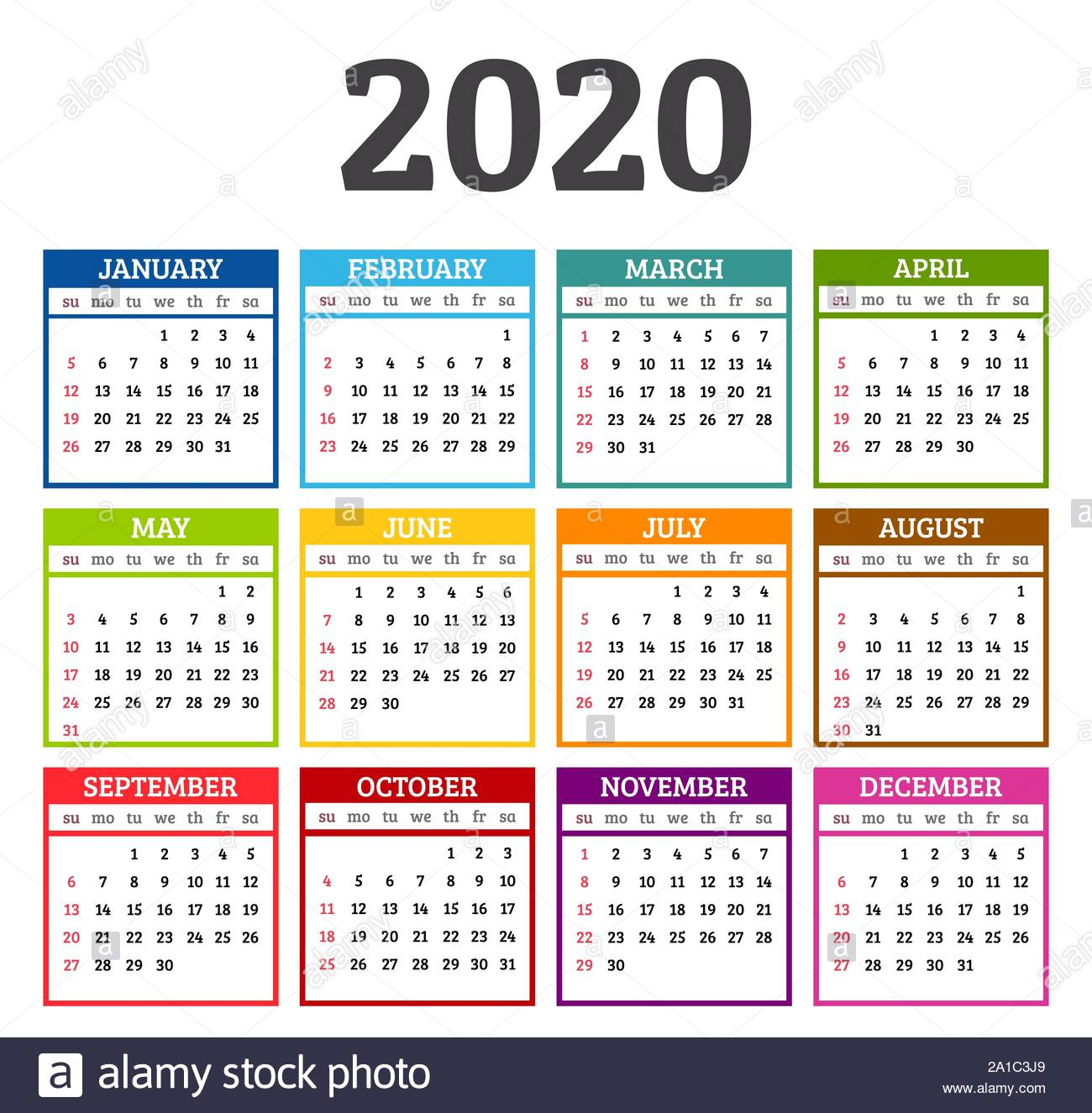 Simple 2020 Year Calendar Week Stock Photos & Simple 2020