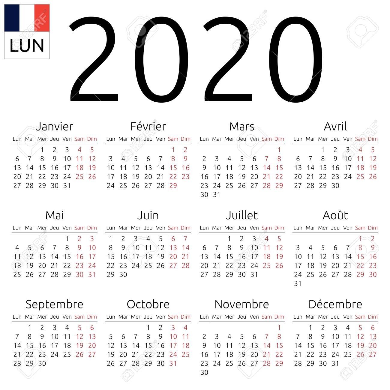 Simple Annual 2020 Year Wall Calendar. French Language. Week..