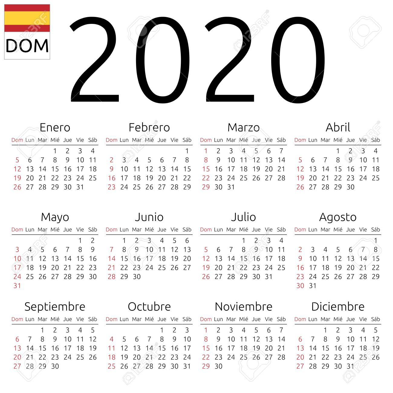 Simple Annual 2020 Year Wall Calendar. Spanish Language. Week..