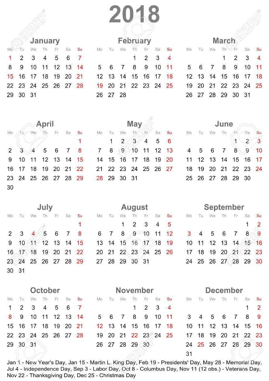 Simple Calendar 2018 - One Year At A Glance - Starts Monday With..