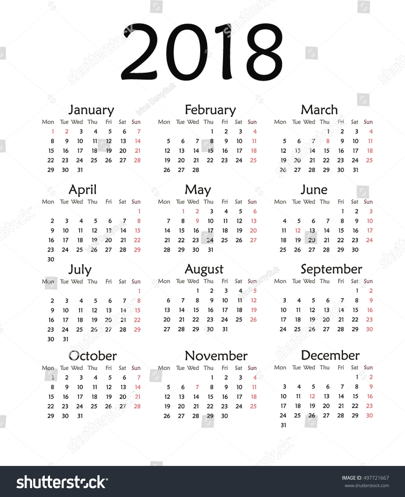 Simple Calendar 2018 Vector Template Design Stock Vector