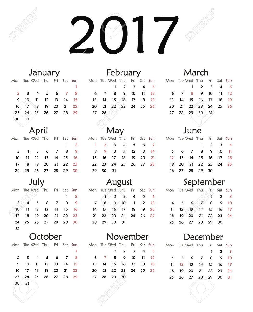 Simple Calendar For 2017. Vector Template Design Monthly Date Illustration  2017 Calendar Week Organizer Simple Number. Organizer Date 2017 Year