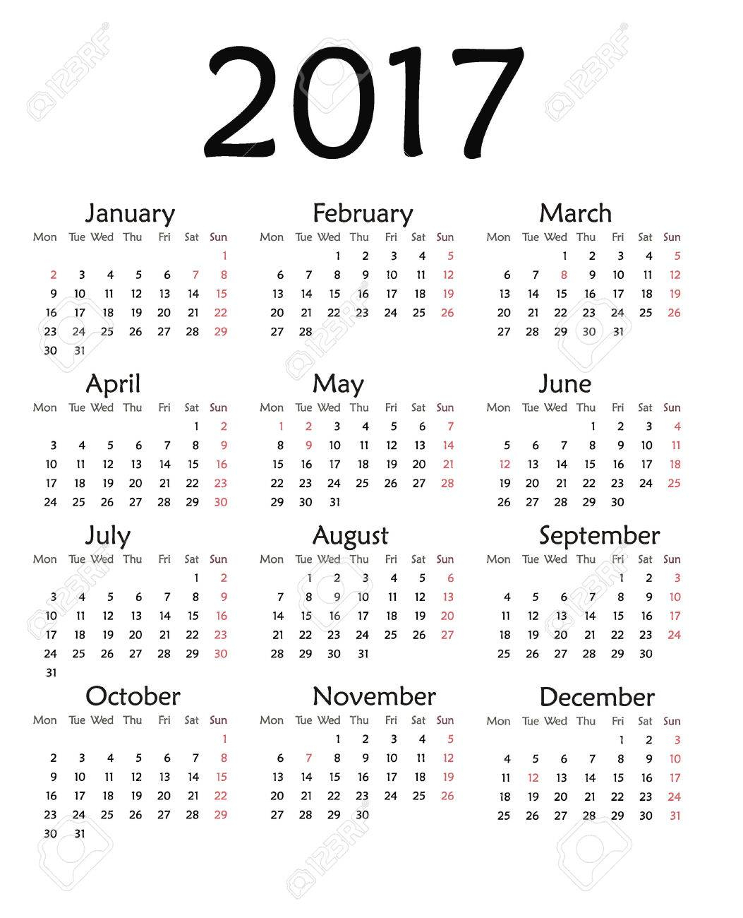 Simple Calendar For 2017. Vector Template Design Monthly Date Illustration  2017 Calendar Week Organizer Simple Number. Organizer Date 2017 Year