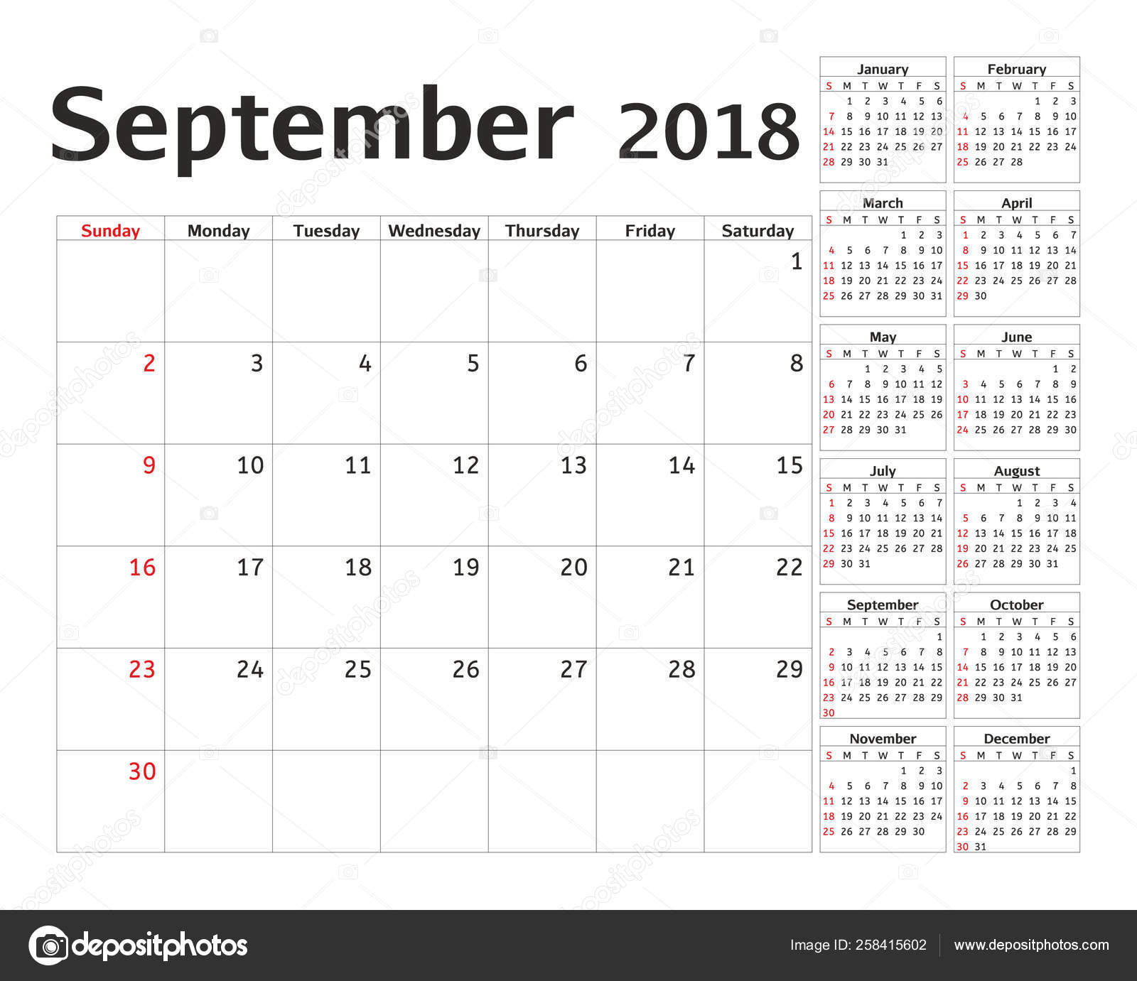 Simple Calendar Planner 2018 Year Calendar Planning Week
