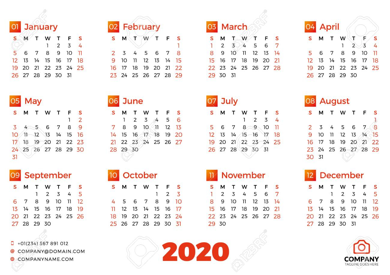 Simple Calendar Template For 2020 Year. Week Starts On Sunday