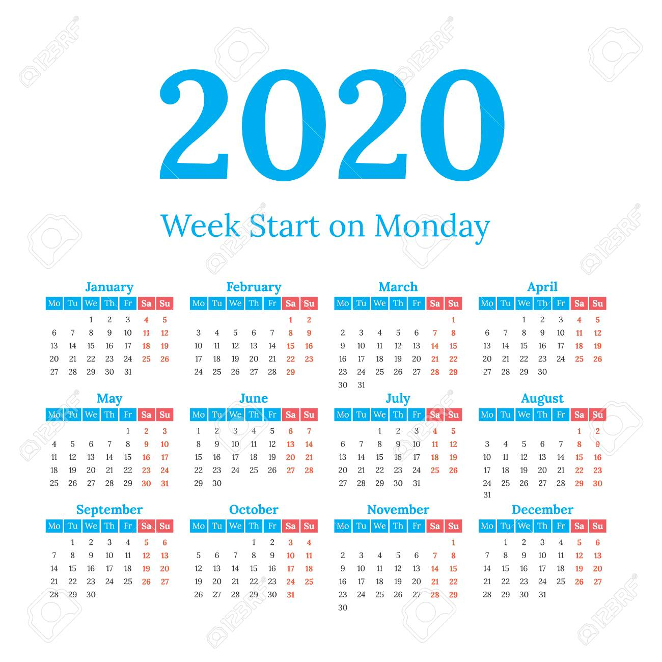 Simple Classic Style 2020 Year Calendar, Week Starts On Monday