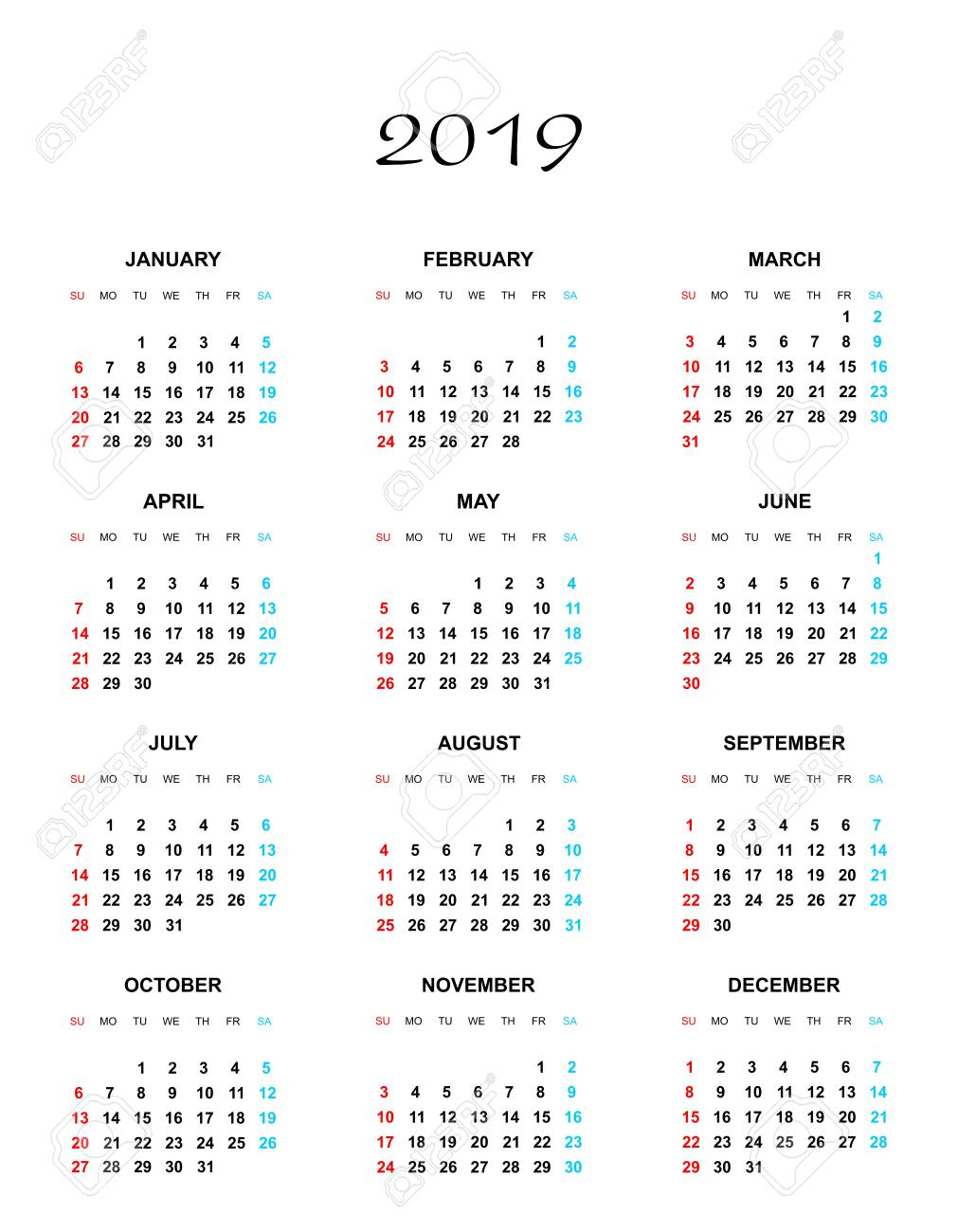 Simple Color Calendar For The Year 2019. The Names Of Days And..