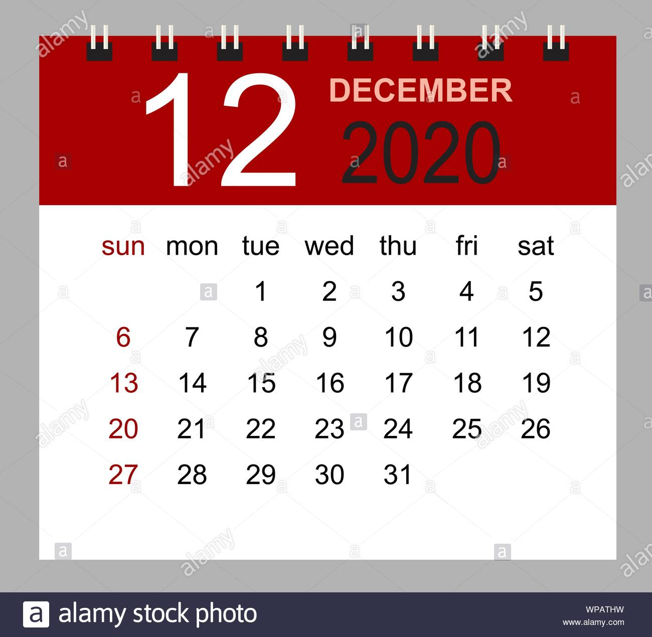 Simple Desk Calendar For December 2020. Week Starts Sunday