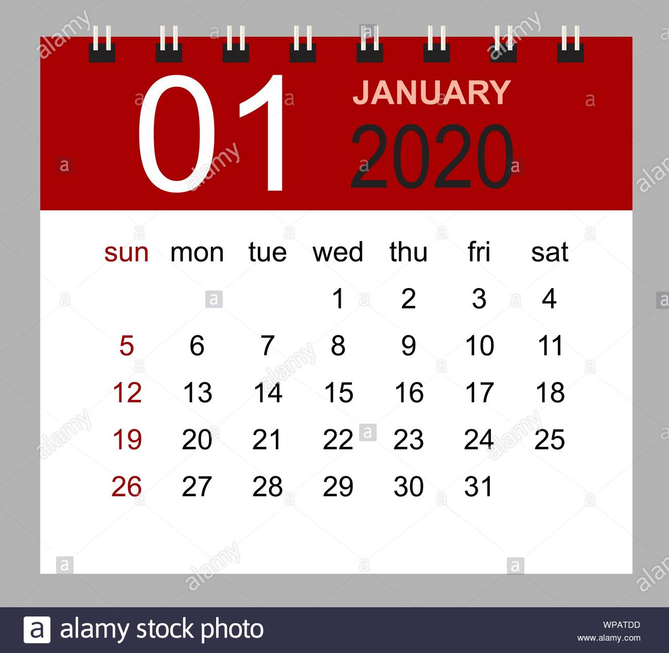 Simple Desk Calendar For January 2020. Week Starts Sunday