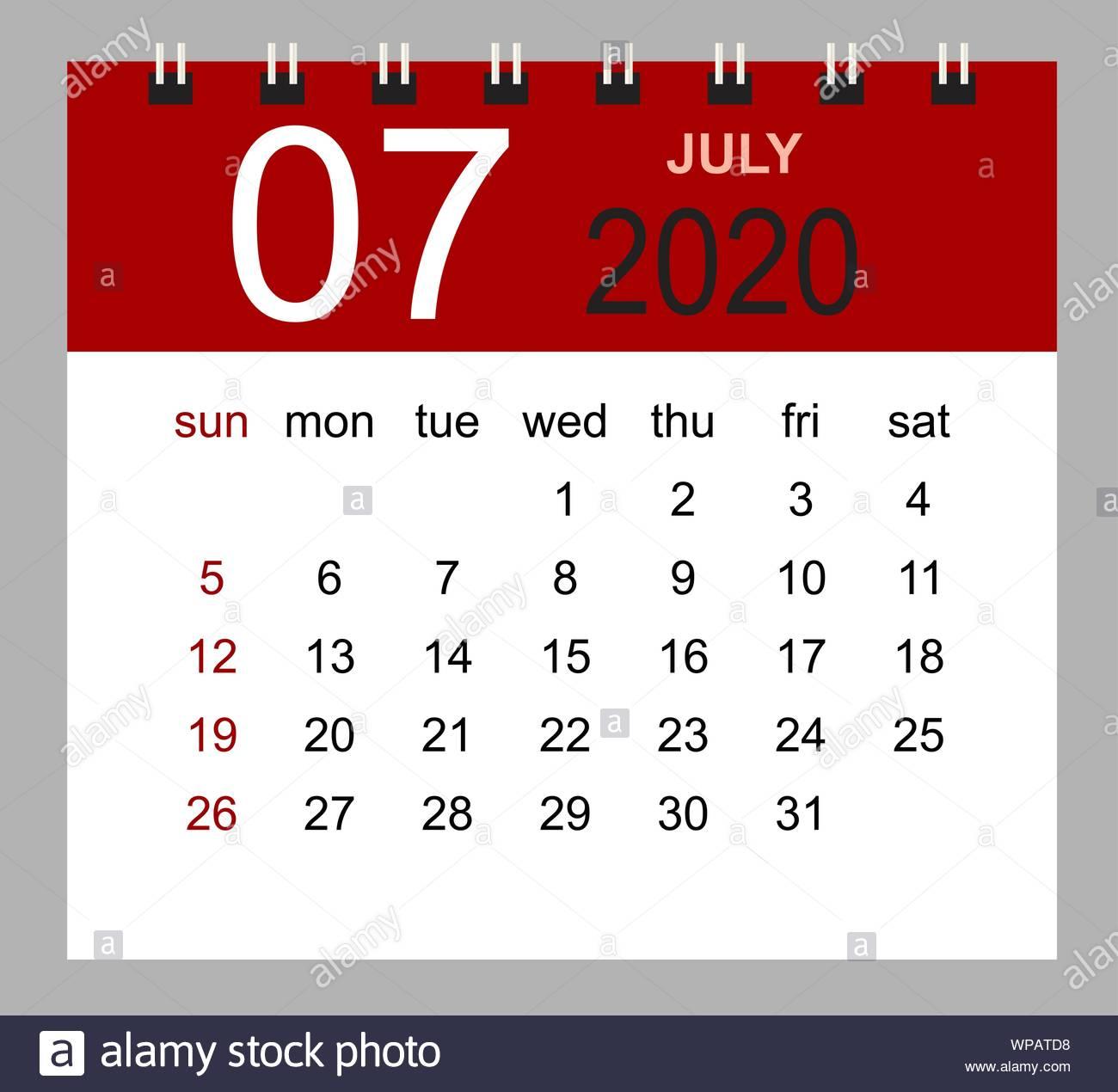 Simple Desk Calendar For July 2020. Week Starts Sunday