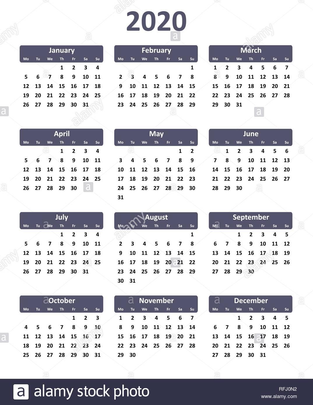 Simple Editable Vector Calendar For Year 2020 Stock Vector