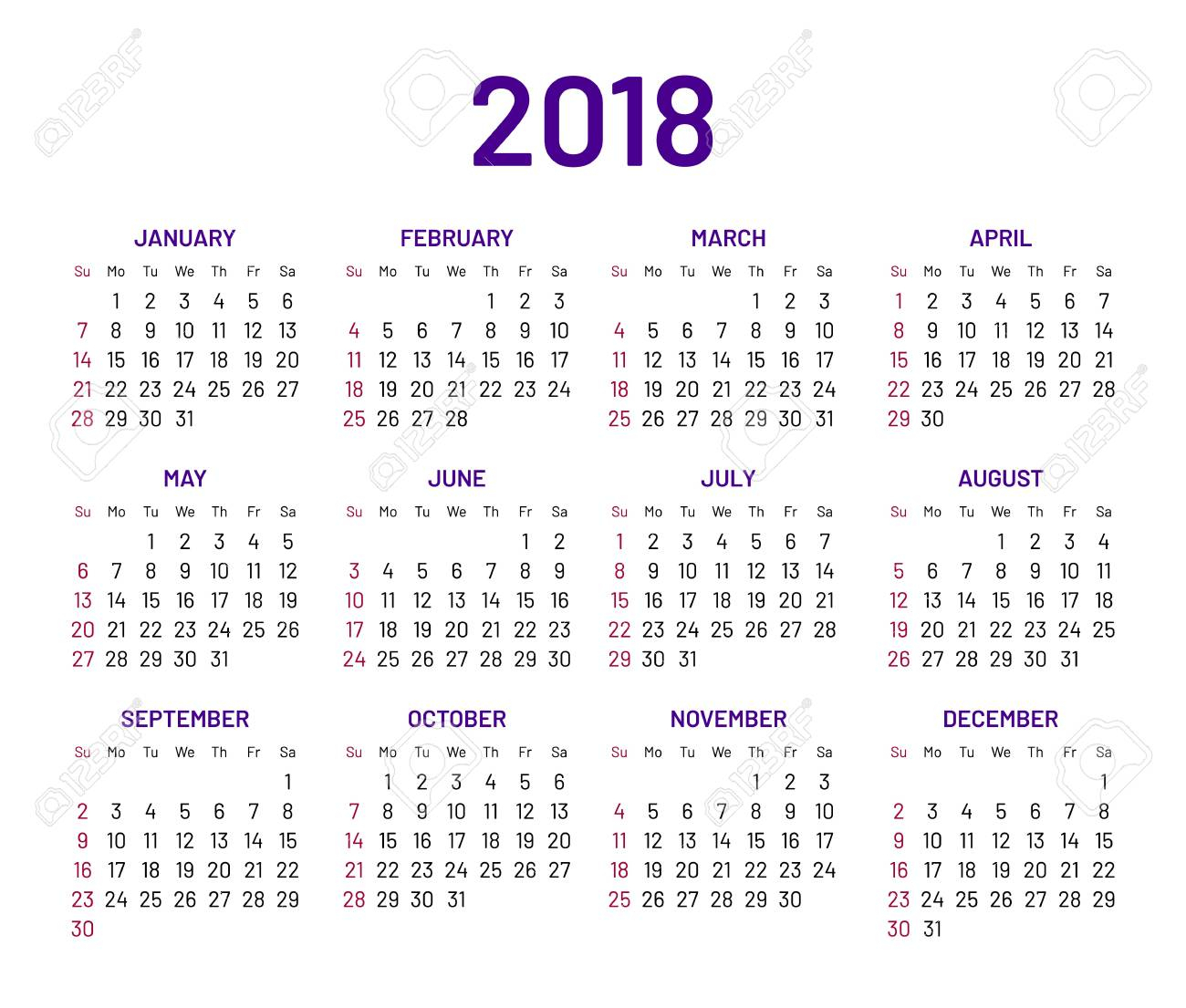 Simple Wall Calendar 2018 Year, Flat, Isolated