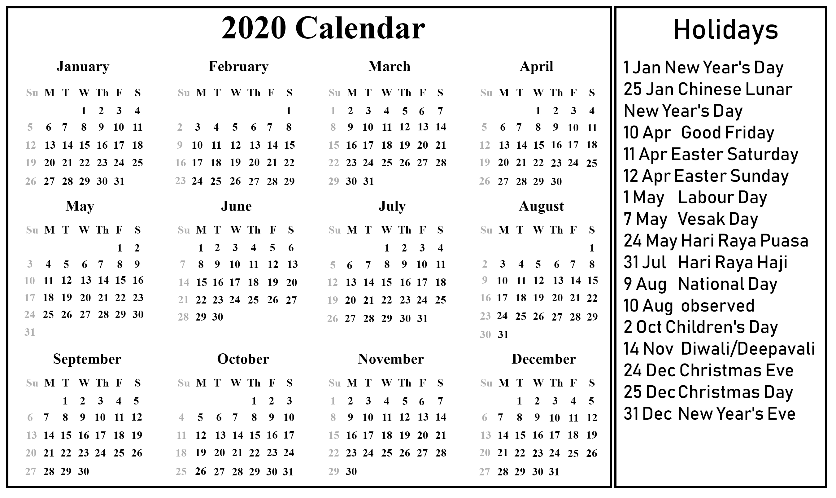 Singapore 2020 Printable Calendar | Printable Calendar