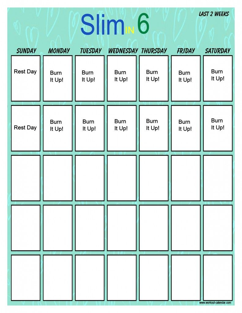 Slim In 6 Workout Calendar Vertical 2 | Slim In 6, Workout