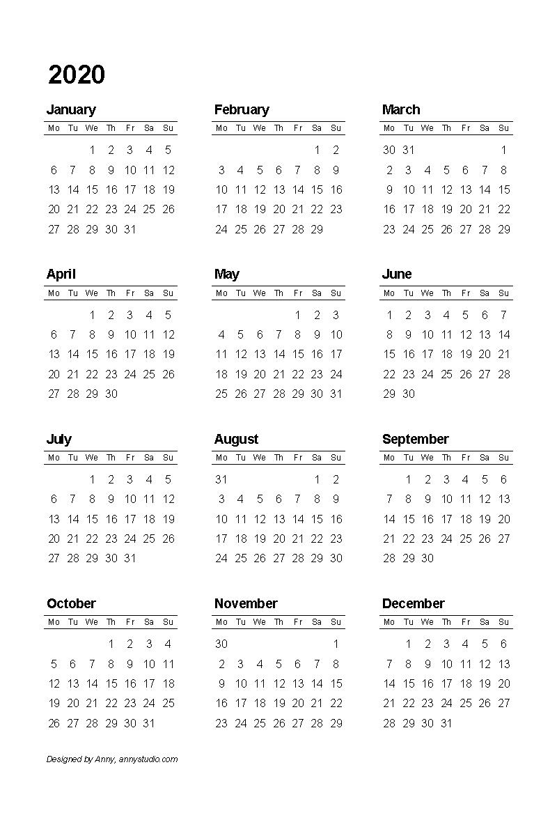 Small Calendar Template 2020 - Wpa.wpart.co