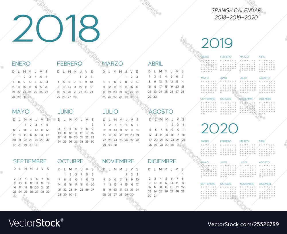 Spanish Calendar 2018-2019-2020