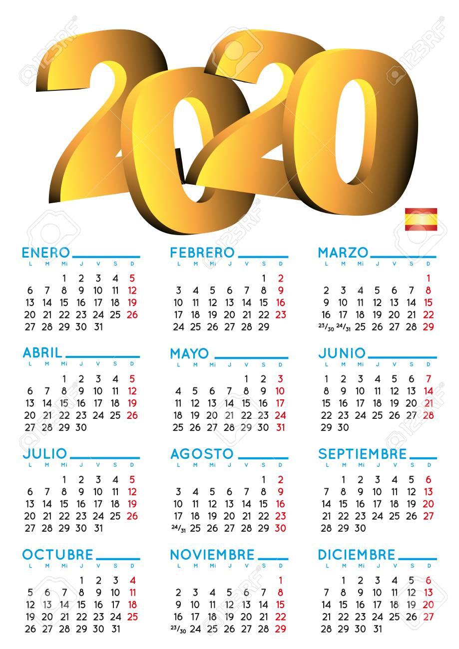 Spanish Calendar 2020. Year 2020 Calendar. Calendar 2020. Calendario..