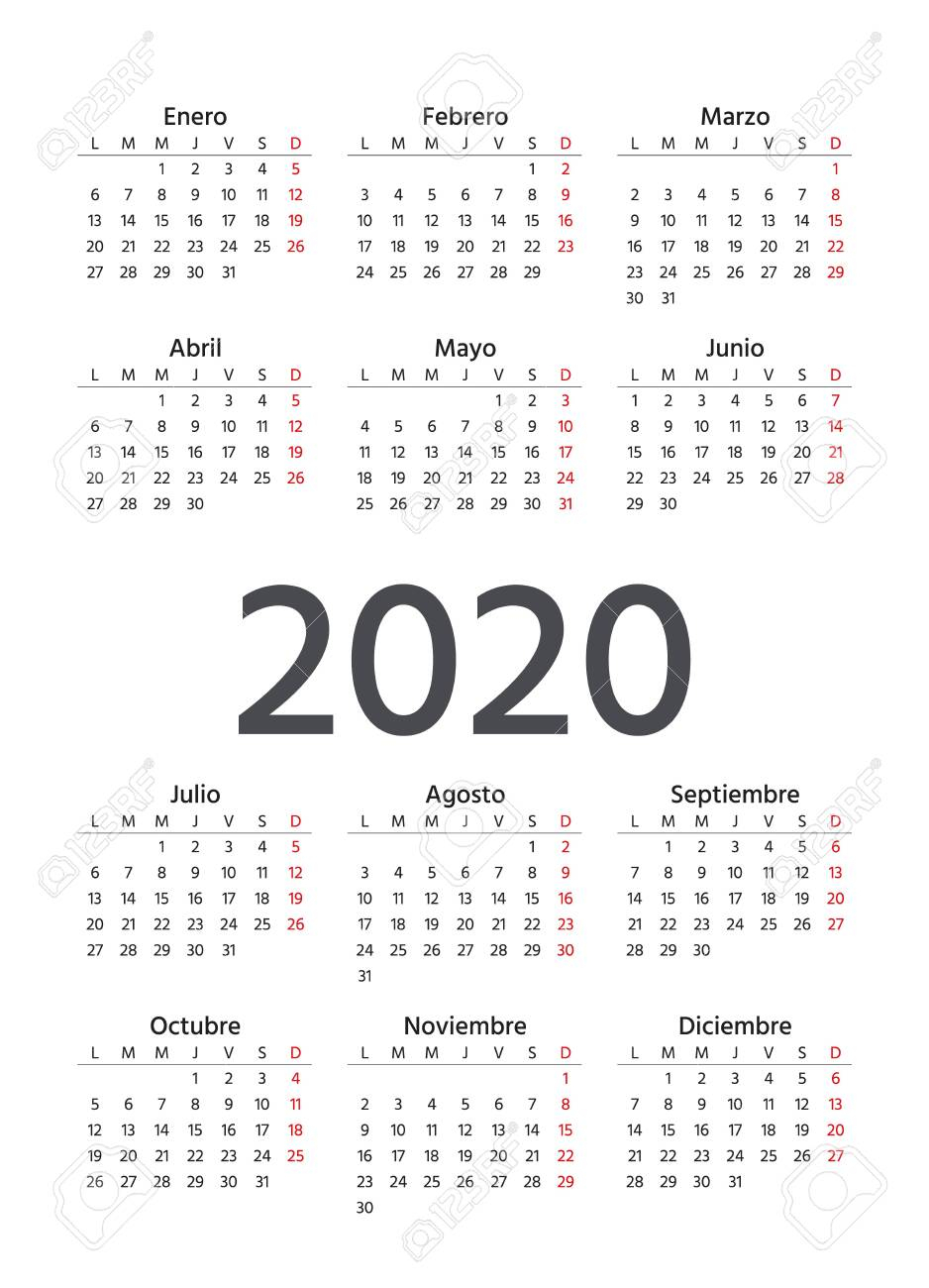 Spanish Calendar 2020 Year. Vector. Week Starts Monday. Spain..