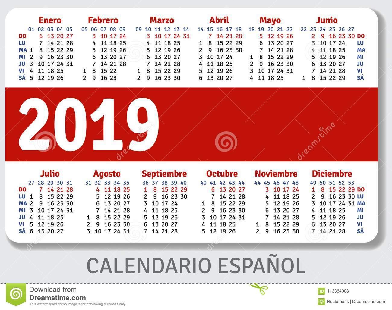Spanish Pocket Calendar For 2019 Stock Vector - Illustration