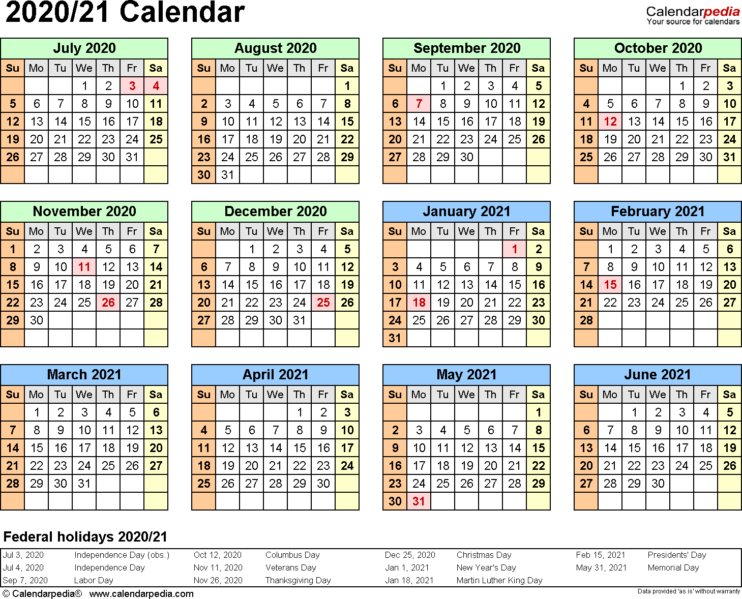Split Year Calendars 2020/2021 (July To June) - Word Templates