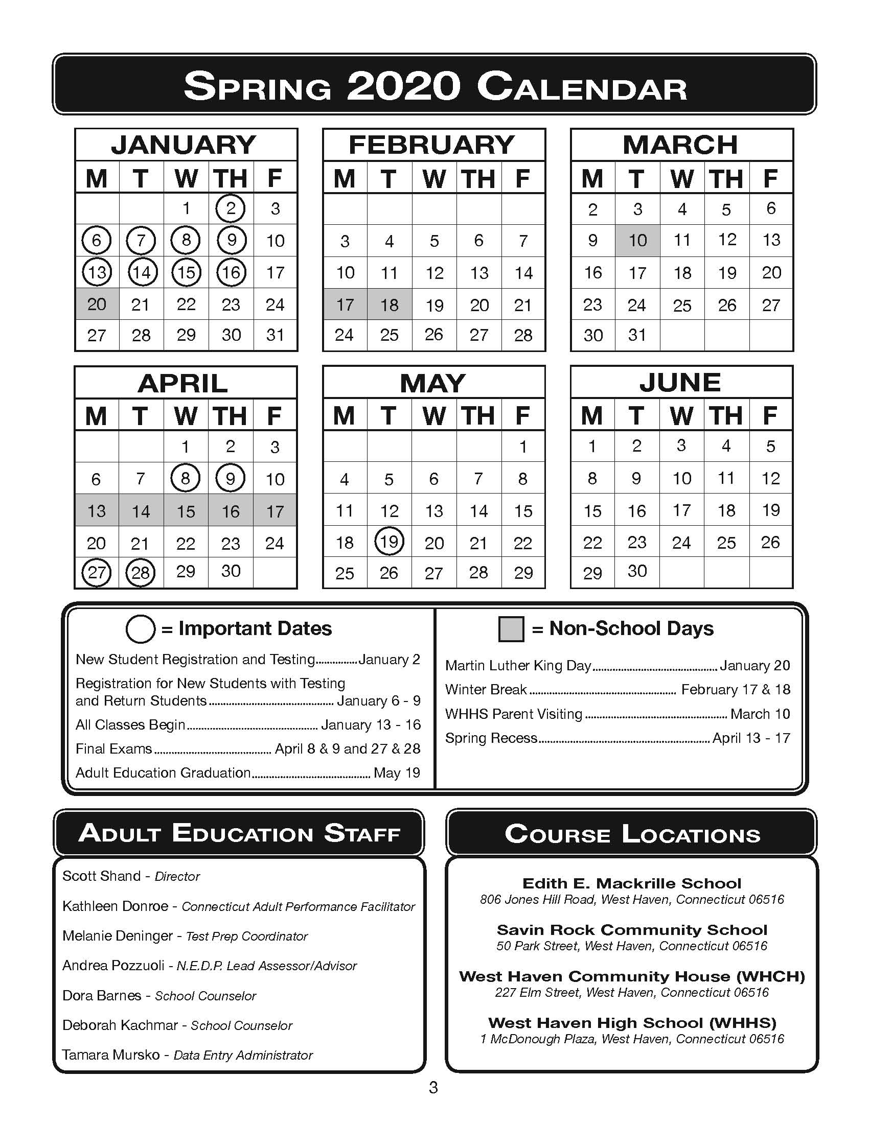 Spring 2020 Calendar - West Haven Board Of Education