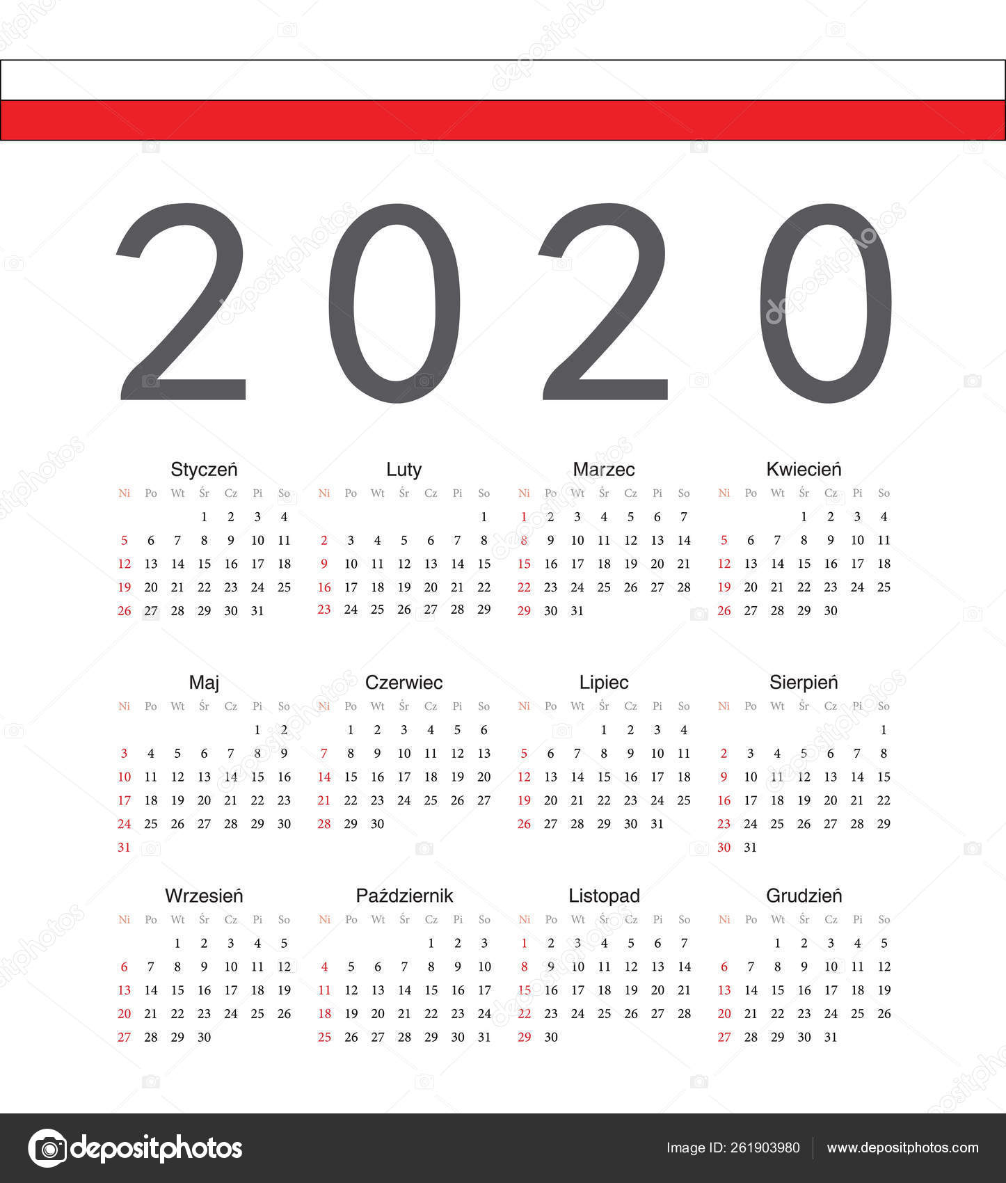 Square Polish 2020 Year Vector Calendar. — Векторное