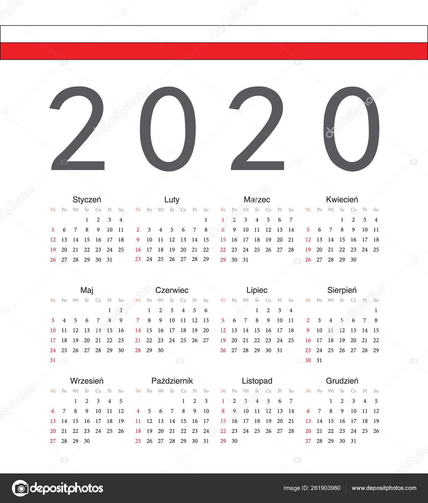 Square Polish 2020 Year Vector Calendar. — Векторное