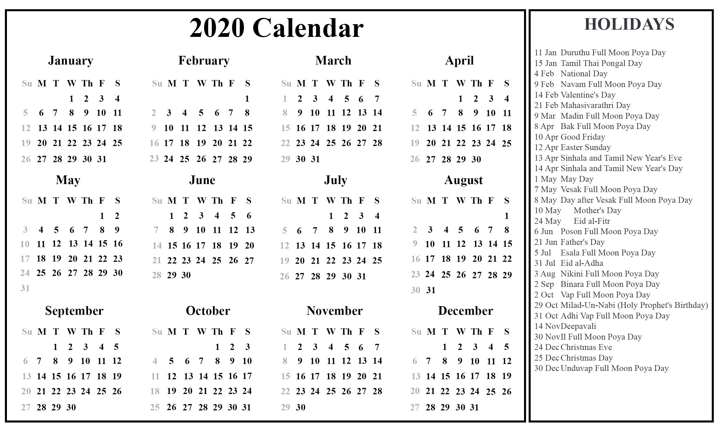 Sri Lanka 2020 Excel Calendar | Printable March Calendar