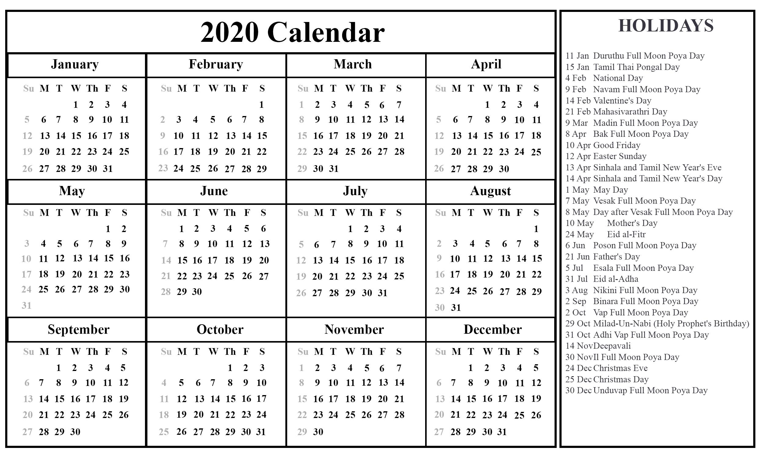 Sri Lanka Calendar 2020 Printable | Printable July Calendar