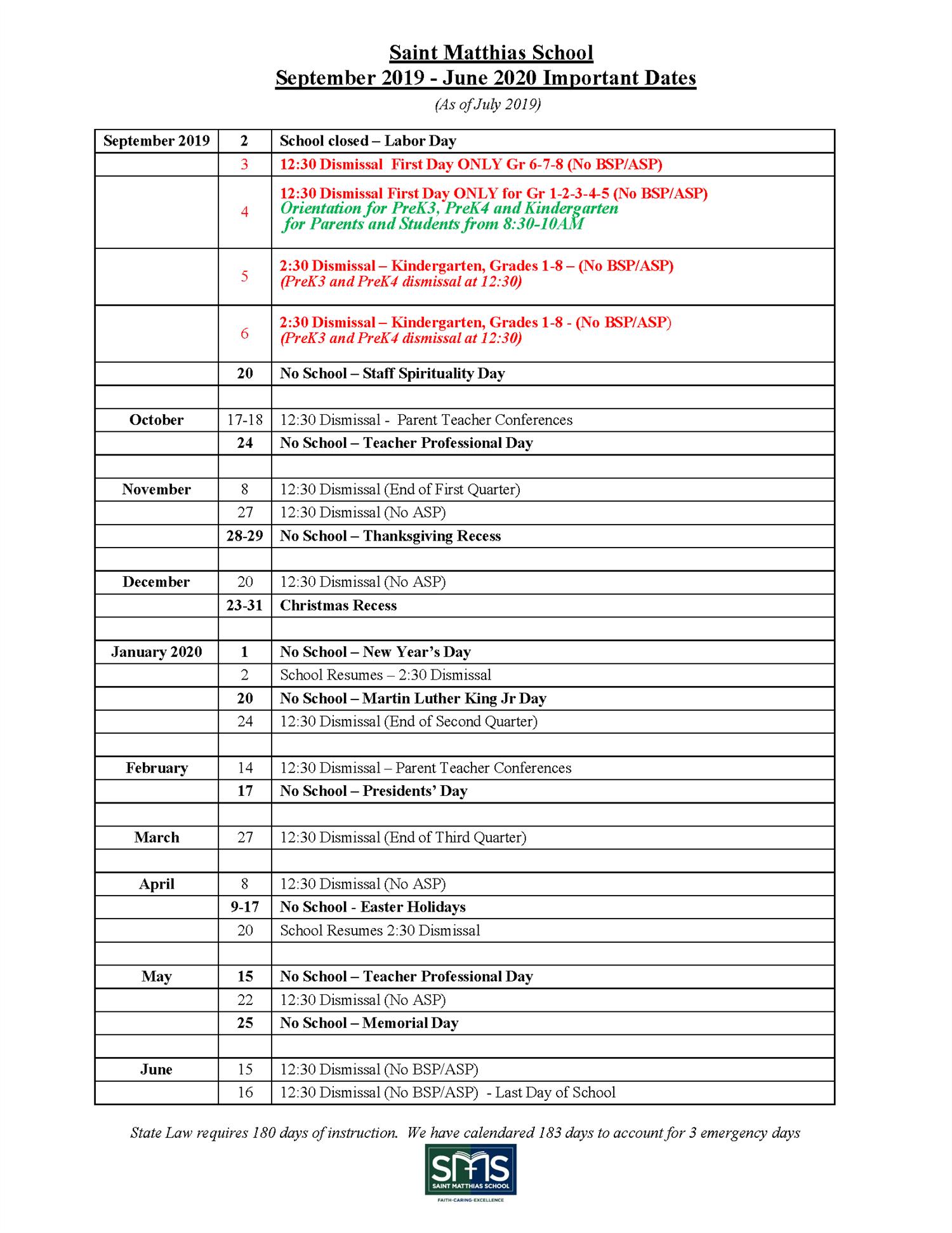 St. Matthias School Calendar - Important Dates For 2019-2020