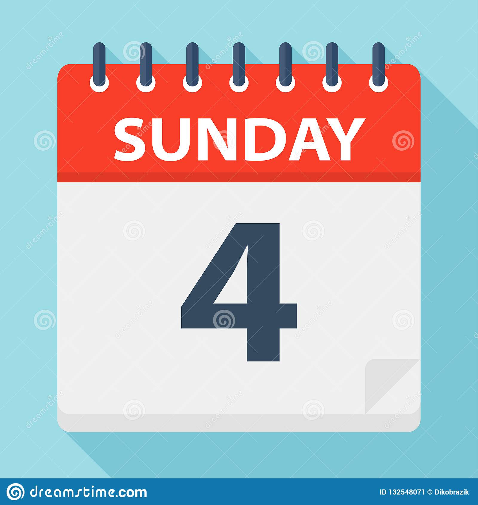 Sunday 4 - Calendar Icon. Vector Illustration Of Week Day