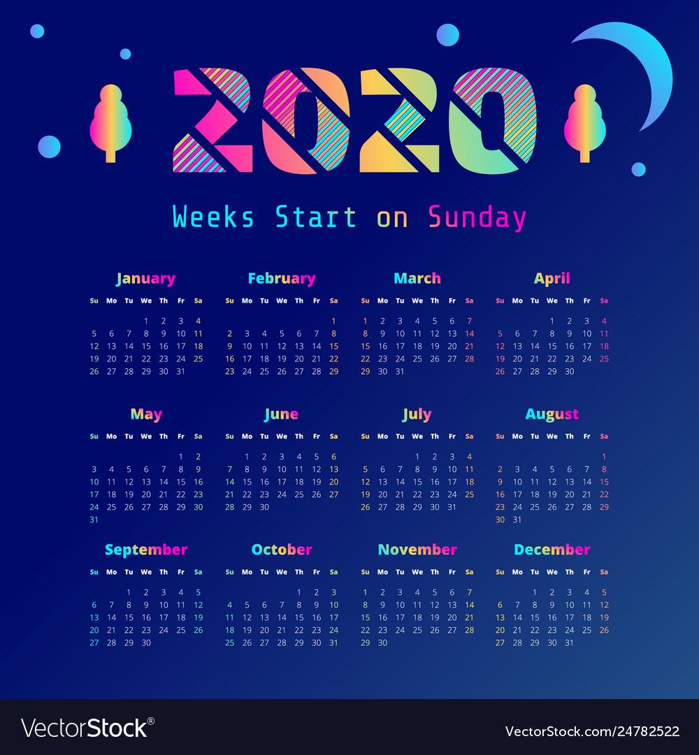 Synthwave 2020 Year Calendar Week Start On Sunday